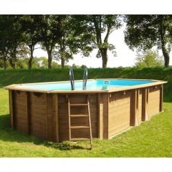 Piscina de madera GRE ovalada Safran Wooden Pool GRE 790089