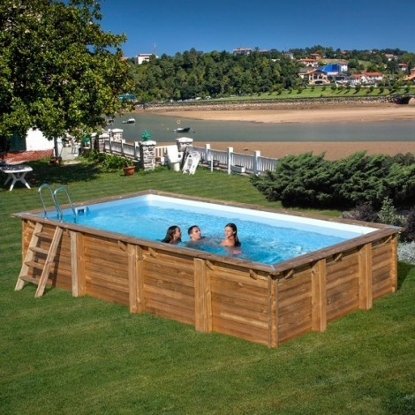 Piscina de madera GRE rectangular Evora Wooden Pool GRE 790094