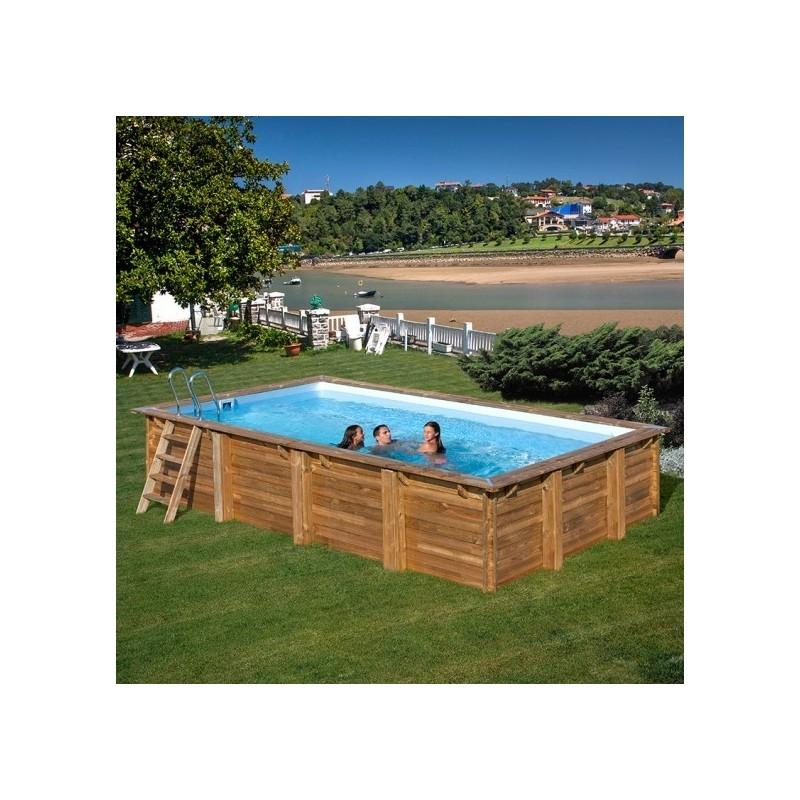 Piscina de madera rectangular gre modelo evora 790094 for Piscinas gre barcelona