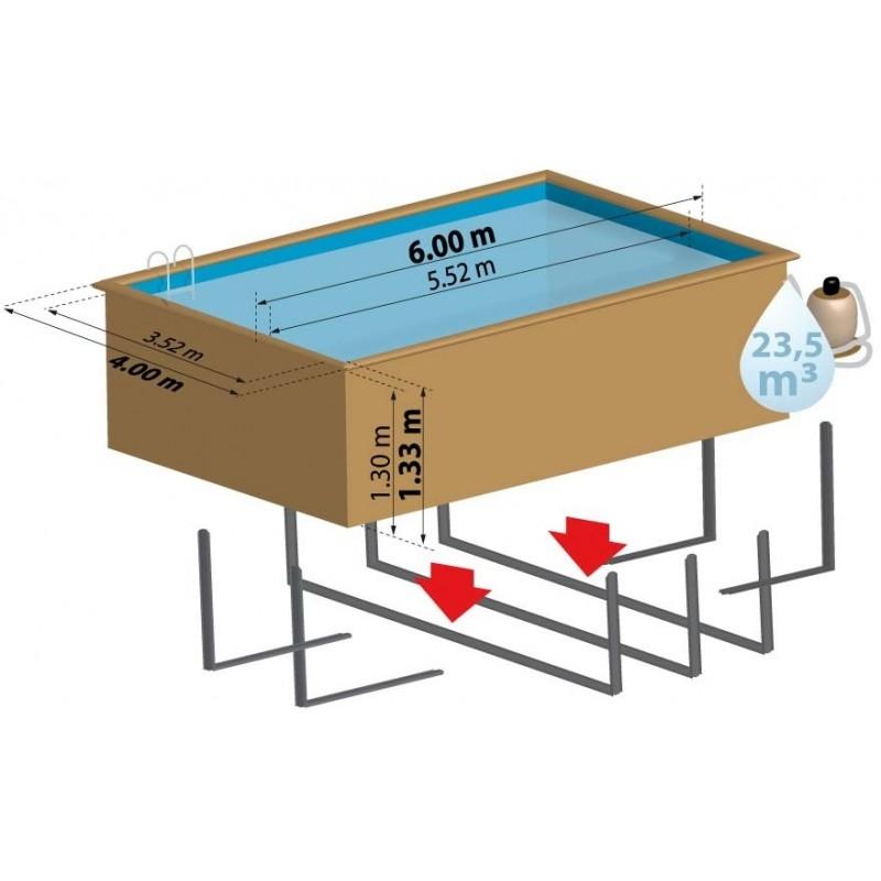 Piscina de madera rectangular gre modelo evora piscinasbcn for Piscina madera rectangular