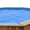 Cubierta verano piscina GRE redonda madera 400 micrones
