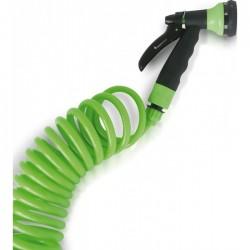 Manguera espiral flexible Green Expert 15 m. + Pistola 8 Jets