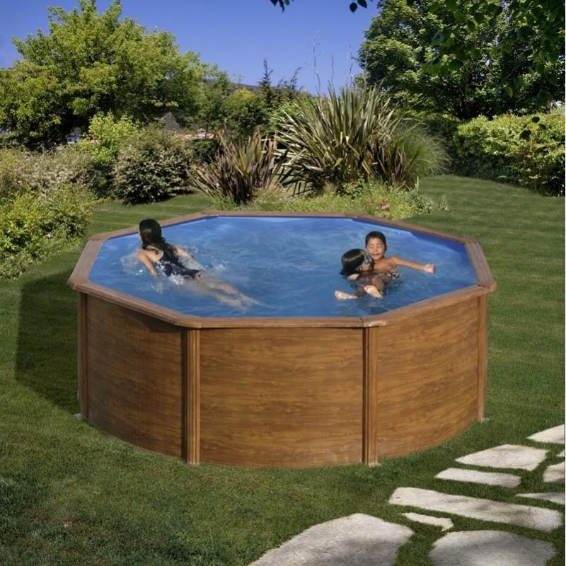 Piscina desmontable gre redonda maldivas 132 cm imitaci n - Liner piscina redonda ...