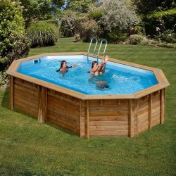 Piscina de madera GRE ovalada Cannelle Wooden Pool GRE 790087