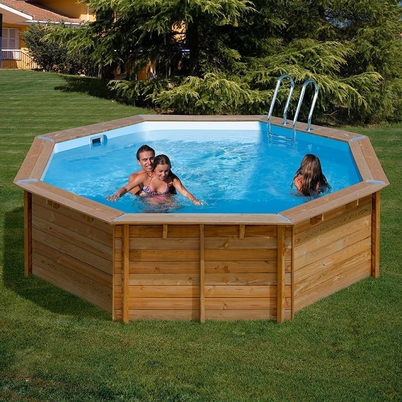 Piscina desmontable gre de madera maciza violette gre 790085 - Liner piscina redonda ...