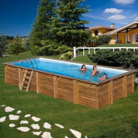 Piscina de madera GRE rectangular Braga Wooden Pool GRE 790095