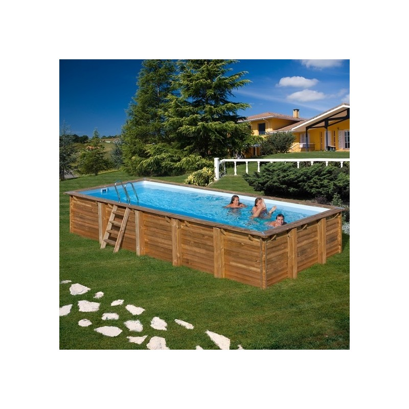 Piscina de madera gre rectangular braga wooden pool gre 790095 - Piscina madera rectangular ...