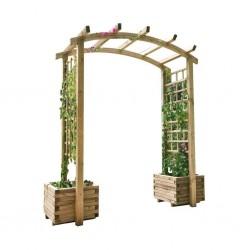 Arco doble con jardineras madera de pino Catral