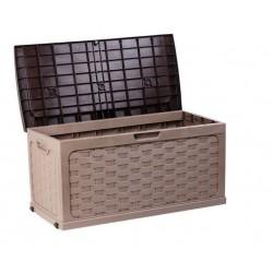 Baúl de rattan con asiento moka/marrón 117 x 56 x 58 cm