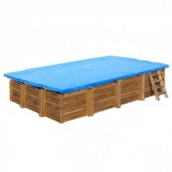 Cubierta invierno piscina GRE rectangular o cuadrada madera Terra Pools 550 g/m²