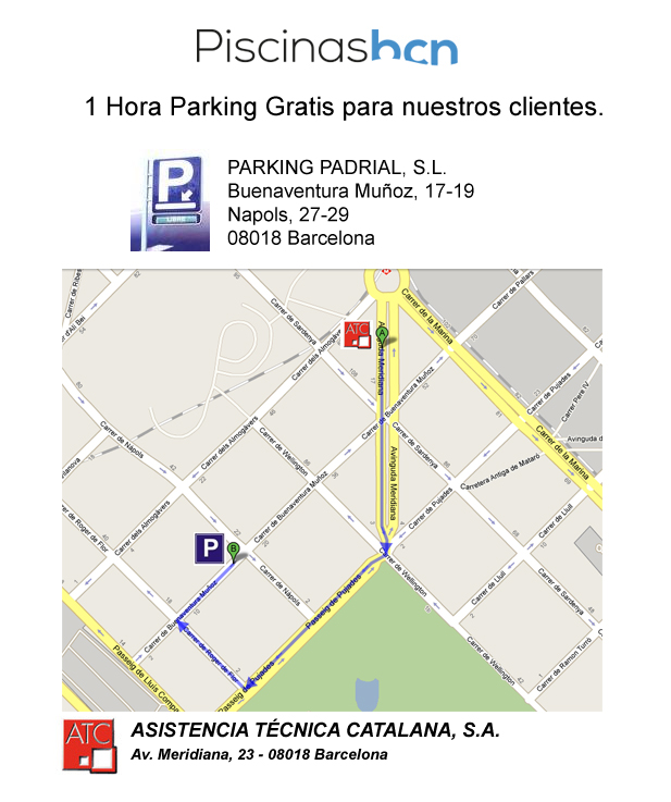 PiscinasBCN Parking gratuito