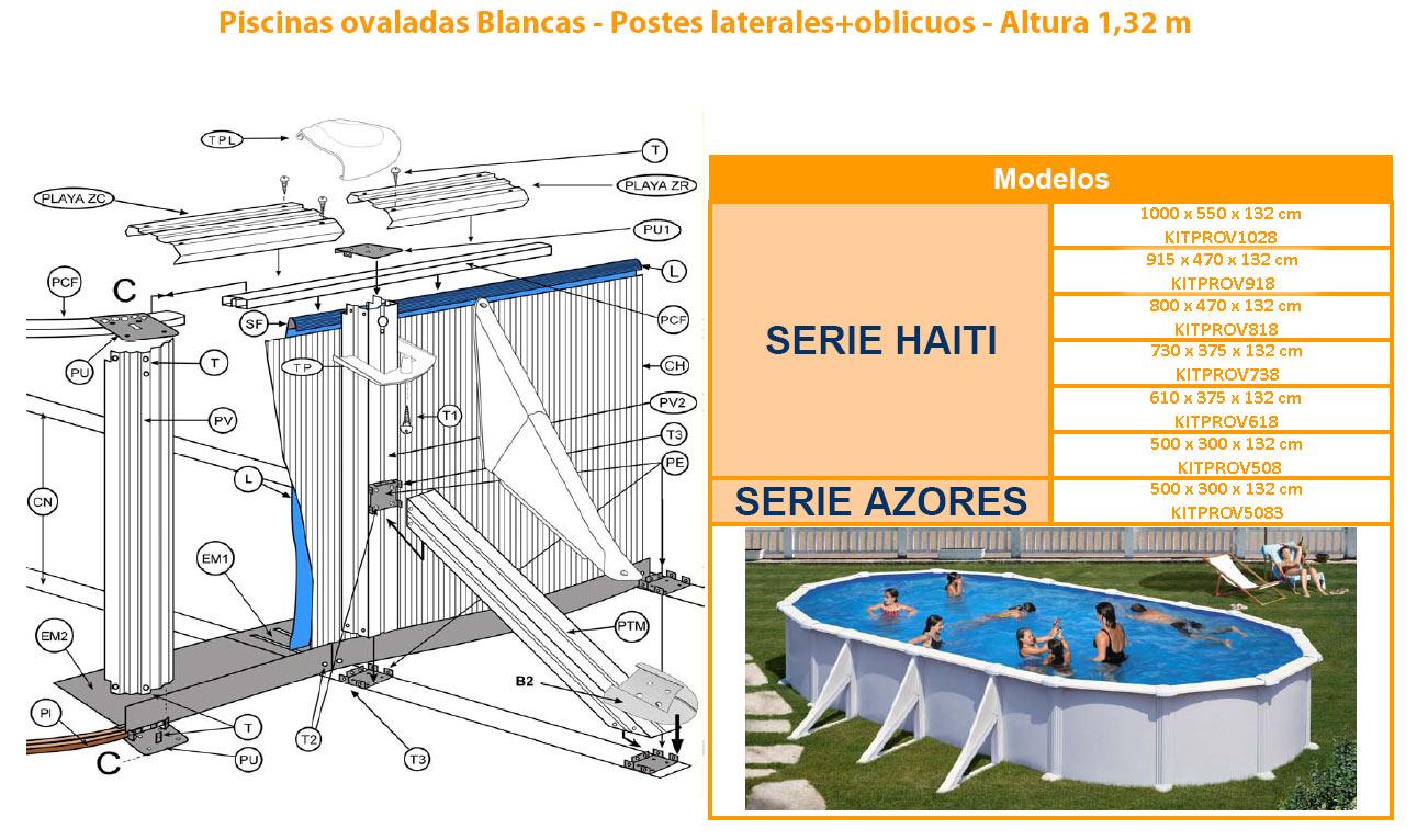 Recambios piscinas ovaladas blancas 132 cm 730x375x132 for Recambios piscinas desmontables