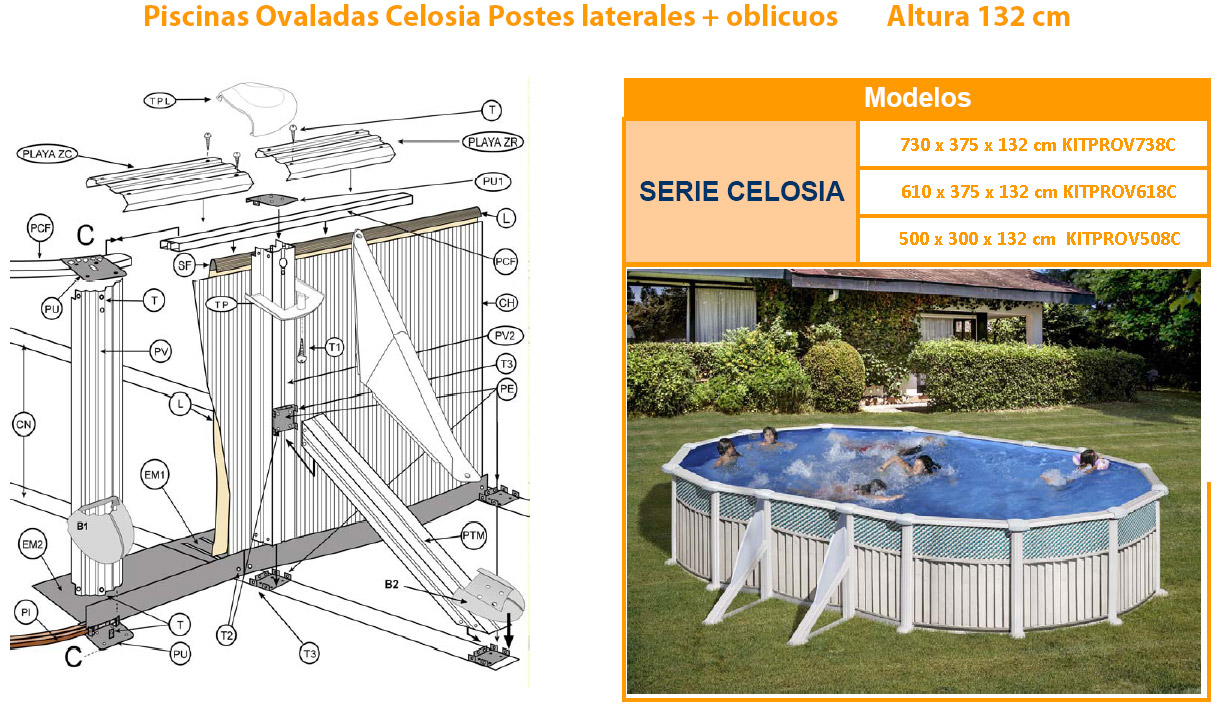 Recambios piscinas ovaladas celosia 132 cm 610x375x132 for Recambios piscinas desmontables