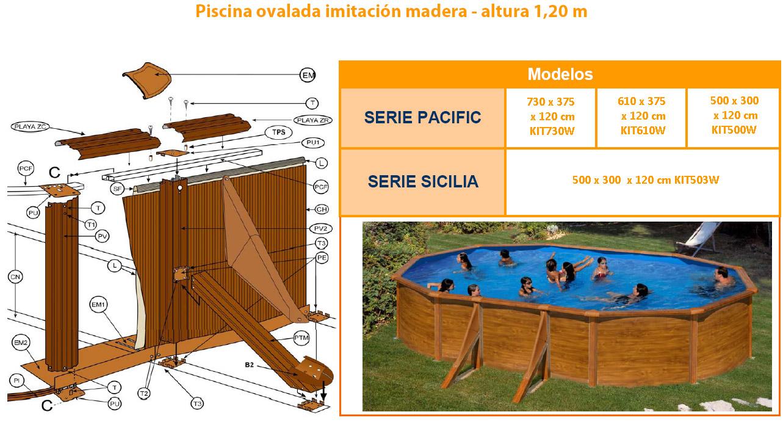 despiece piscina imitacion madera