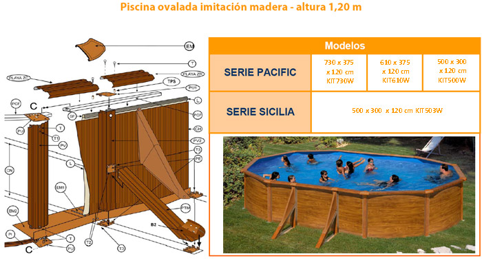 Recambios piscinas imitacion madera