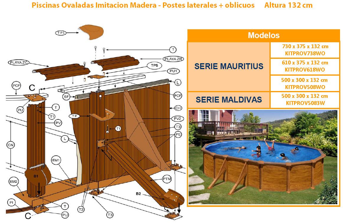 piscinas imitación madera