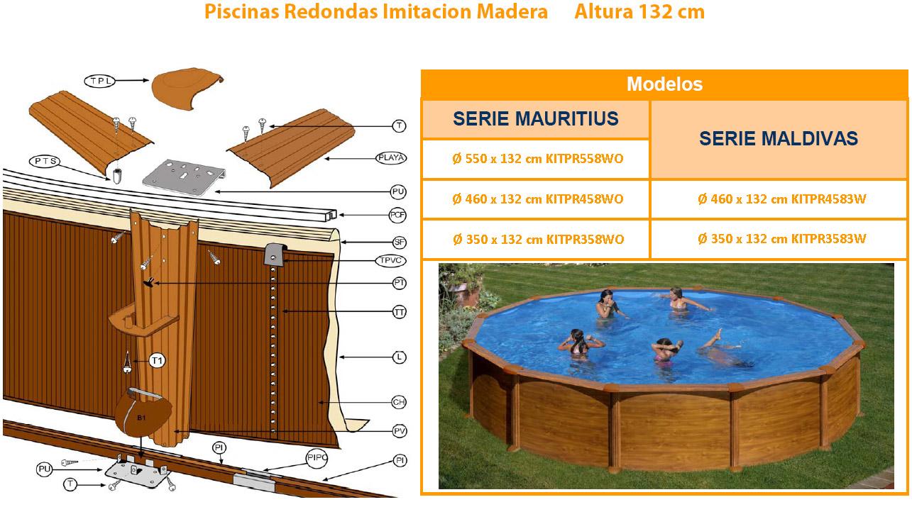 despiece piscina imitacion madera gre