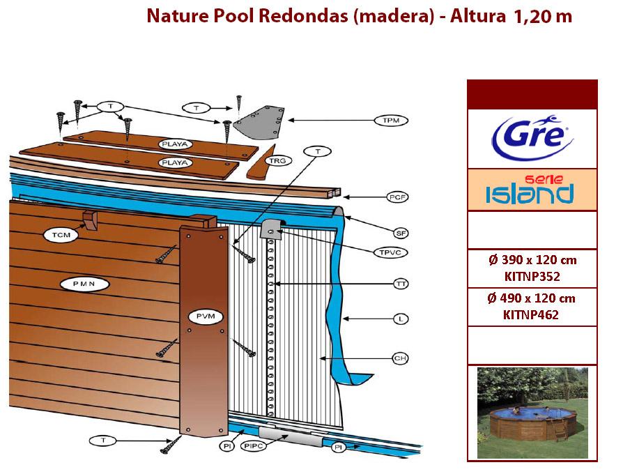 despiece piscina madera gre